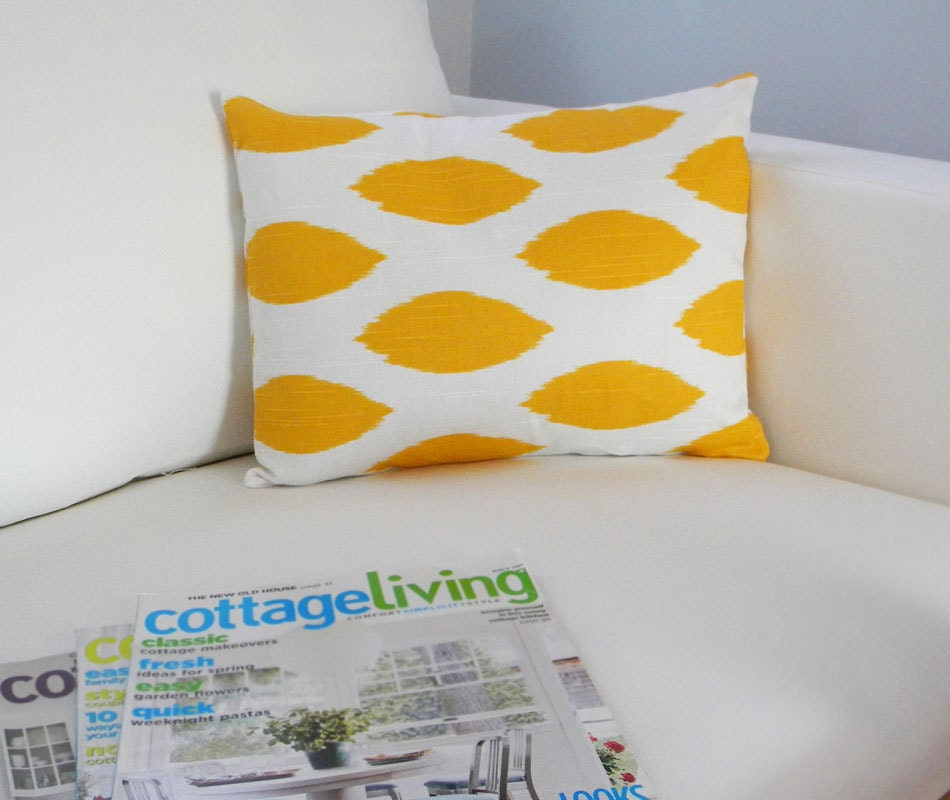 Yellow and white lumbar pillow cover 12x16 by peppercornelvis - Whiten yellowed pillows ...