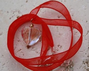 Swarovski Crystal Heart Pendant on Red Organza Ribbon