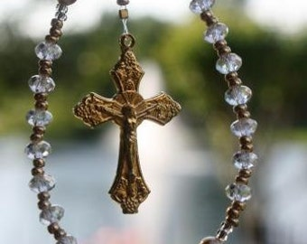 First Communion Rosary Catholic Rosary with Petite Crystals and Gold Crucifix