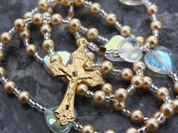 Rosary Beads of Golden Swarovski Pearls & Our Lady of Fatima Center
