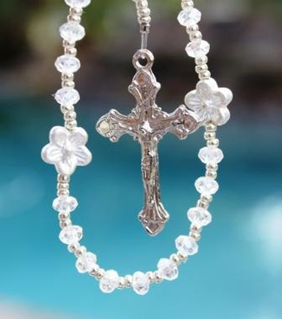 First Communion Rosary Beads in Petite Crystals and Chalice Center
