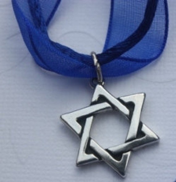 Star of David in Sterling Silver on Blue Organza Ribbon Choker