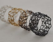 Crocheted Ring in Oxidized Silver Black Finish