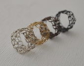 Crocheted Sterling Silver Ring Crochet Band Wire Mesh