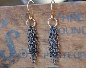 Mixed Metal Oxidized Chain Earrings