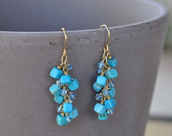 Turquoise Cube Cluster Earrings