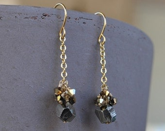 Pyrite Nugget Gold Chain Earring