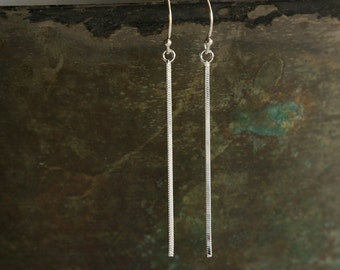 Sterling Silver Snake Chain Linear Line Simple Classic Earrings