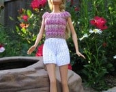 White Shorts with Pink and Taupe Striped Top for Barbie or Similar 11.5inch Dolls