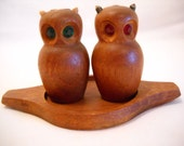 Vintage Owl Salt And Pepper Shakers/Wood Salt And Pepper Shakers/Owls Salt And Pepper