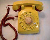 Vintage Rotary Phone Yellow And Red