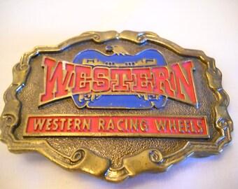 Vintage Western Racing Wheels Belt Buckle/Racing Belt Buckle/Vintage Belt Buckle