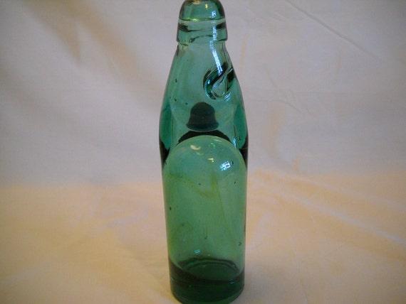 Vintage Soda Bottle Codd Neck With Marble