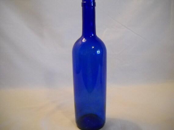 Cobalt blue pontil bottom glass wine bottle vintage for How to break bottom of glass bottle