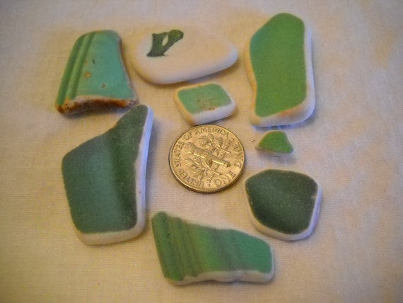 Genuine Sea Tumbled Beach Pottery In Greens From The Pacific Northwest