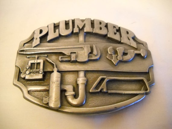 Vintage Plumber Pewter Belt Buckle 1987 Siskiyou Buckle Co.