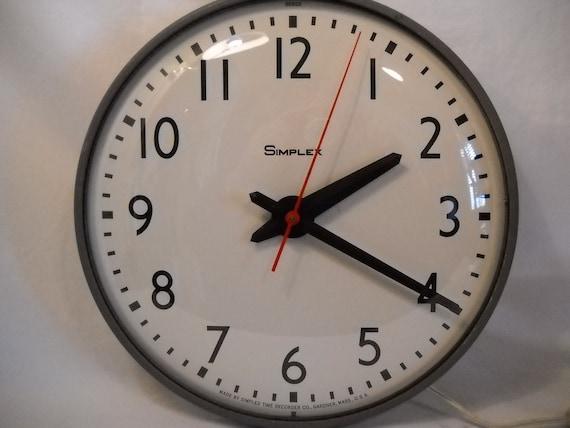 vintage simplex industrial school clock