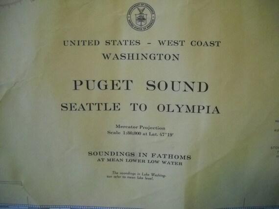 Vintage Nautical Map Puget Sound Seattle To Olympia Washington State 1950's