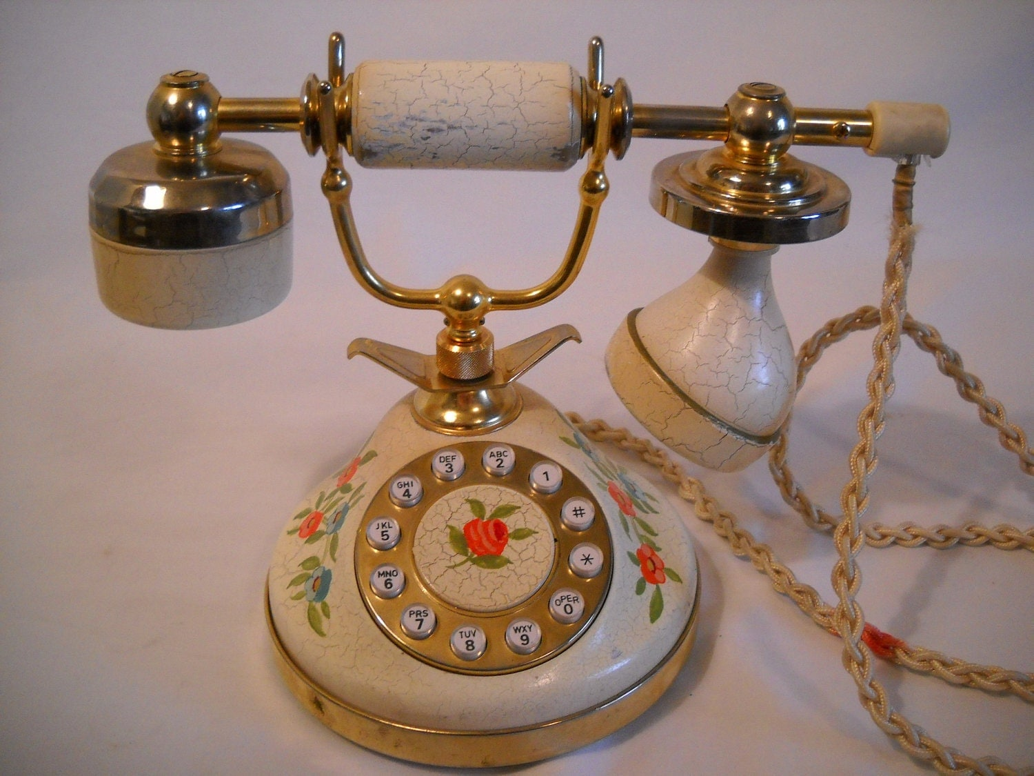 Vintage Victorian Style Telephone Telequest Gold Plated Made