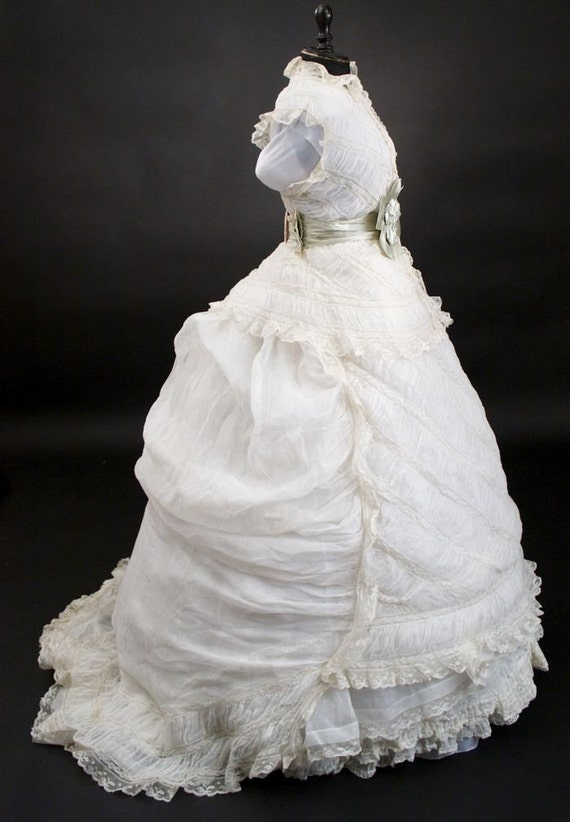 RARE 1800s Vintage Victorian Lace Wedding Dress Gown