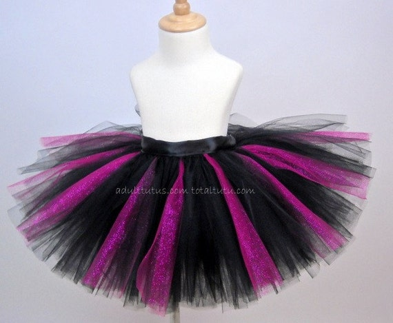 Quick Ship Black  Hot Pink Glitter Adult Tutu Youth to Adult LG