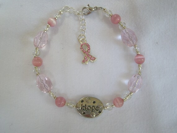 HOPE breast cancer bracelet with pink catseye beads and pink cut glass beads