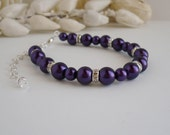 Royal Purple Bridesmaids Bracelet - Deep Purple Pearl and Crystal Rondelle Spacers with extender