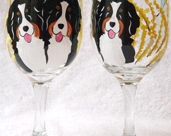 Bernese Mountain dog Wine Glasses CUSTOM
