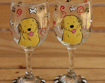 Custom Painted wine glasses with YOUR DOG
