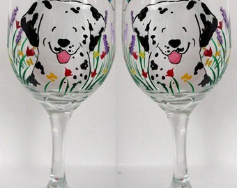 dalmatian wine glasses CUSTOM