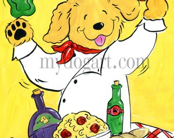 Whimsical Golden Retriever Chef print 5x7