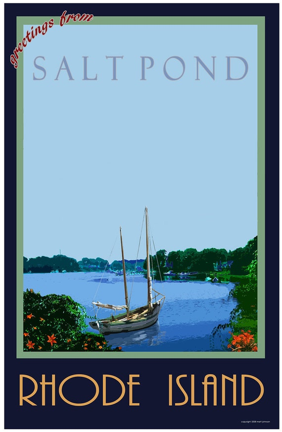 Wall Art, Salt Pond Rhode Island Old Style Travel Poster