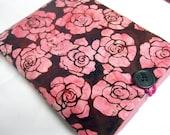 IPad Case  IPad 2 Sleeve Case -- Hot Pink Roses on Brown Batik Stamped