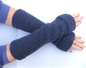 Wool Fingerless Gloves - Purple - Texting Gloves - Upcycled Wrist Warmers Arm Warmers Spring Fashion Winter Accessories
