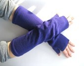 Wool Fingerless Gloves - Bright Purple Wrist Warmers Arm Warmers :  Upcycled Recycled Repurposed Spring Fashion Winter Accessories