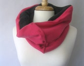 Cashmere Snood - Cowl and Face Scarf - Hot Pink and Black : Upcycled Repurposed Recycled Fall Fashion