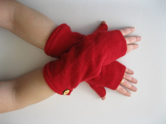 Cashmere Fingerless Gloves - Bright Red Texting Gloves  Wrist Warmers : Upcycled Recycled Repurposed Spring Fashion Winter Accessories