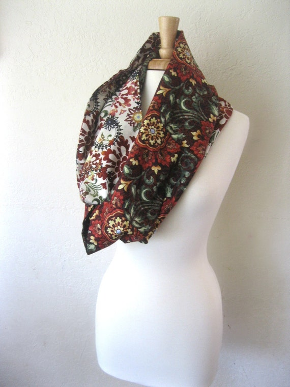 Cotton Infinity Scarf - Eclectic Rich Red Tapestry Green White Cream  : Spring Fashion