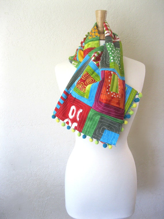 Bright Wrap Scarf with Colorful PomPoms - Multicolored Faux Patchwork Lightweight Cotton Shawl Pashmina Wrap : Spring Fashion