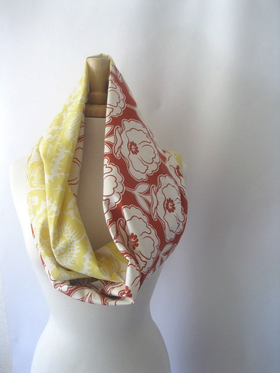 Cotton Infinity Scarf - Orange and Yellow Flower Designer Print Eclectic Scarf : Summer Fashion