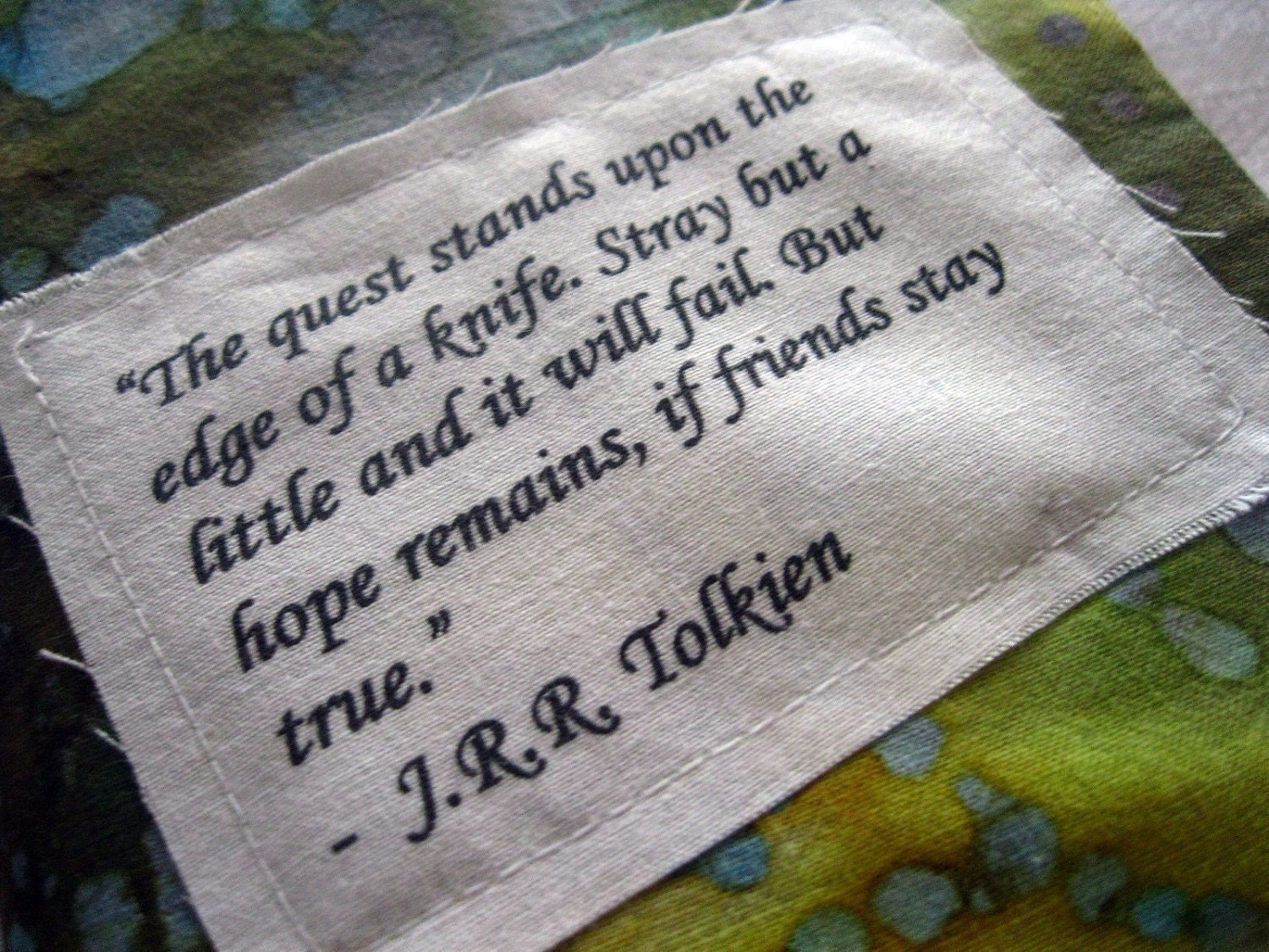 Book Cover Material Quotes ~ Lord of the rings fabric book cover tolkien quote quest