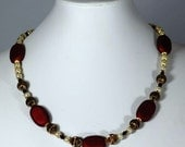 Pearl and Burgundy Bead Necklace.