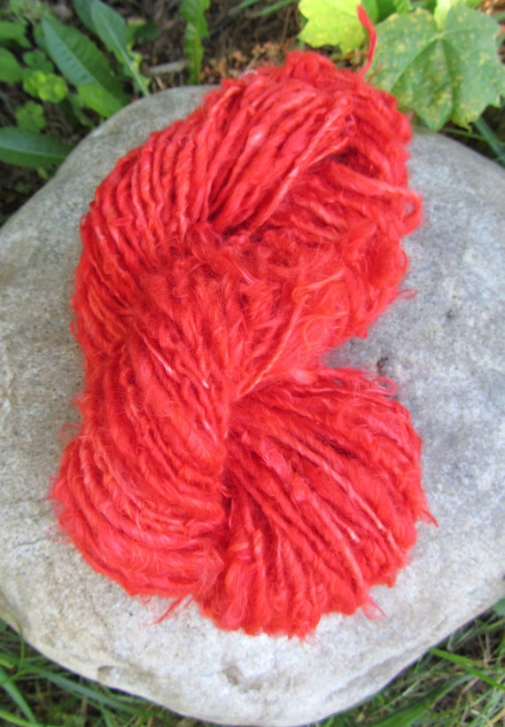 RESERVED Handspun Yarn Suri Alpaca Pow Red