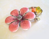 KEY CHAIN- with Pink Enameled FLOWER, Silver Bell, and Orange Bell Flower Charms
