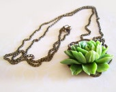 NECKLACE- Blooming Lotus Necklace with Green Flower and Long Chain