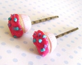 Bobby Pins- Set of Two Cupcake Hairpins-- Hot Pink Blue and Purple Sprinkle Cupcakes