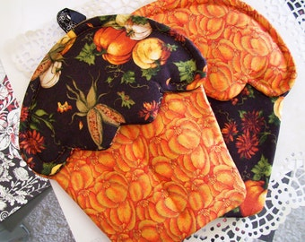 Handmade Fall Harvest Cornucopia Holiday themed Cupcake oven mitts with orange and black material pot holders