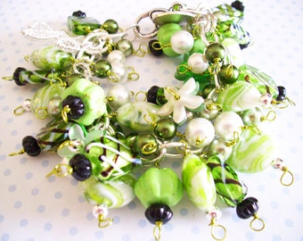 SALE Bracelet with Evil Eye  Bright Green Beads with Various Charms, 8 Inches