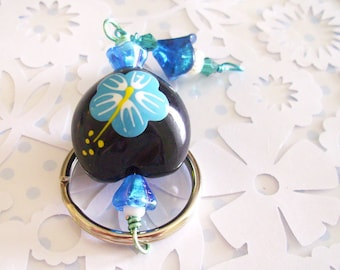 Black Hawaiian KuKui Nut Keychain with Painted Blue Hibiscus flower women accessory