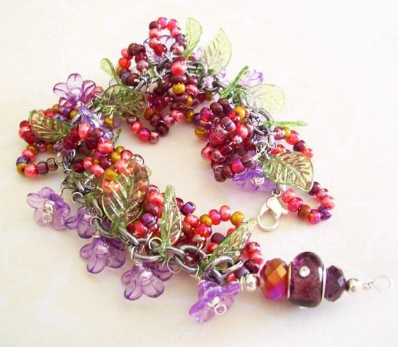 Charm Bracelet SALE Dark Pinks mix beaded Pretty Petals with lamp work focal